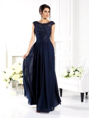 A-Linie/Princess-Linie U-Ausschnitt Perlen verziert Ärmellos Lange Chiffon Brautmutterkleider