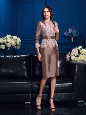 Etui-Linie Juwel-Ausschnitt Spitze Kurze Ärmel Kurz Taft Brautmutterkleider