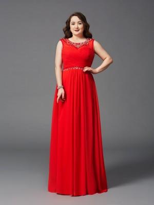 A-Linie/Princess-Linie U-Ausschnitt Perlen verziert Ärmellos Lange Chiffon Übergrößen Kleider