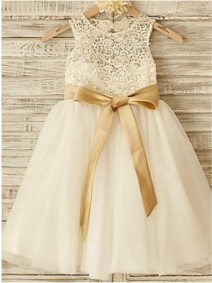 A-Linie/Princess-Stil U-Ausschnitt Ärmellos Schleife Bodenlang Tülle Blumenmädchenkleider