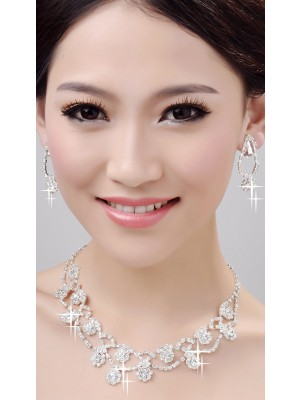Glamorous Alloy Clear Kristalles Wedding Halskette Ohrringe Set