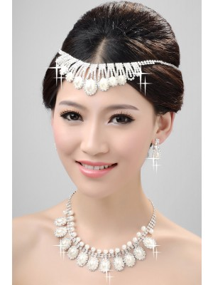 Nice Alloy Clear Kristalles Perlen Wedding Headpieces Halskette Ohrringe Set