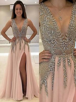 A-Linie/Princess-Linie V-Ausschnitt Ärmellos Sweep/Pinsel zug Perlen verziert Tüll Kleider