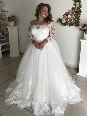 A-Linie/Princess-Linie Schulterfrei Lange Ärmel Sweep/Pinsel zug Spitze Tüll Brautkleider