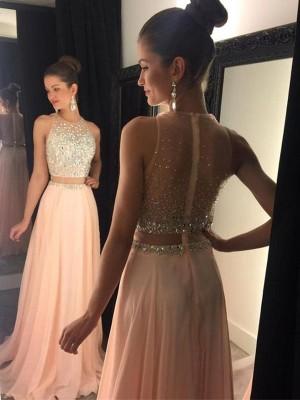 A-Linie/Princess-Stil Ärmellos U-Ausschnitt Perlenstickerei Sweep/Pinsel Zug Chiffon Kleider