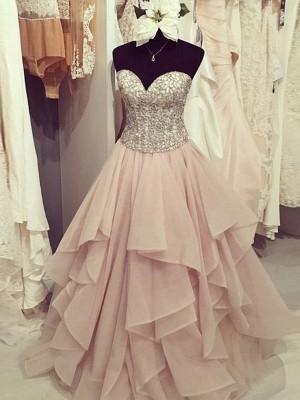 Duchesse-Linie Herz-Ausschnitt Ärmellos Bodenlang Perlenstickerei Chiffon Kleider