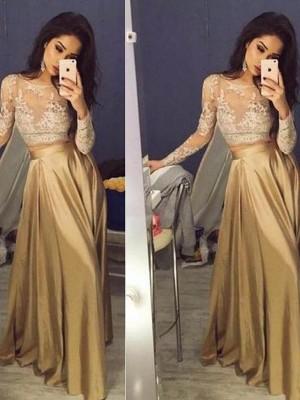 A-Linie/Princess-Stil Lange Ärmel U-Ausschnitt Taft Applikation Bodenlang Zwei Stück Kleider