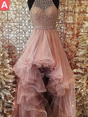 Duchesse-Linie Neckholder Ärmellos Perlen verziert Asymmetrisch Organza Kleider