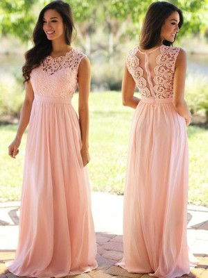 A-Linie/Princess-Stil U-Ausschnitt Ärmellos Applikation Bodenlang Chiffon Kleider