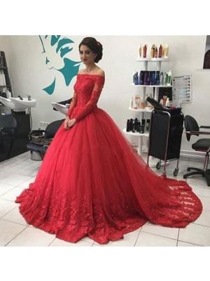 Duchesse-Linie Carmen-Ausschnitt Lange Ärmel Spitze Tülle Hof-schleppe Kleider