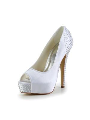 Women's Satin Stiletto Heel Peep Toe Plateauschuhe White Hochzeitsschuhe With Strasssteine