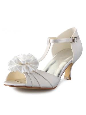 Women's Satin Stiletto Heel T-Strap Peep Toe With Flower Dance Schuhe