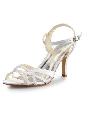 Women's Stiletto Heel Peep Toe Satin With Buckle Sandal Dance Schuhe