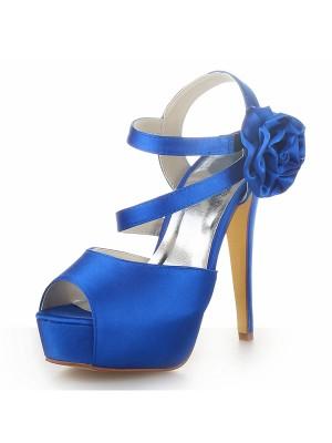 Women's Satin Peep Toe Plateauschuhe Stiletto Heel With Flower Sandalen Schuhe