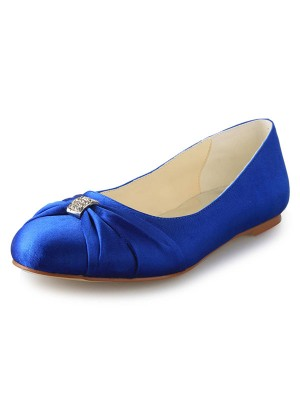Women's Flat Heel Closed Toe Satin With Strasssteine Flat Schuhe