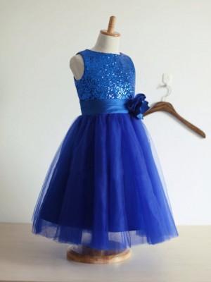 A-Linie/Princess-Linie  Juwel-Ausschnitt Ärmellos Handgemachte Blume Tüll Lange Kleider
