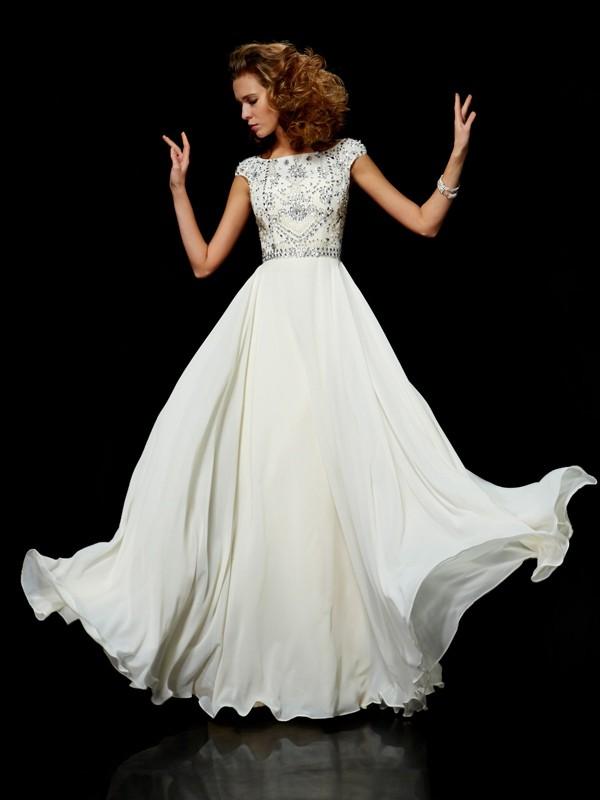 Duchesse-Linie Stehkragen Kurze Ärmel Perlen verziert Lange Chiffon Kleider