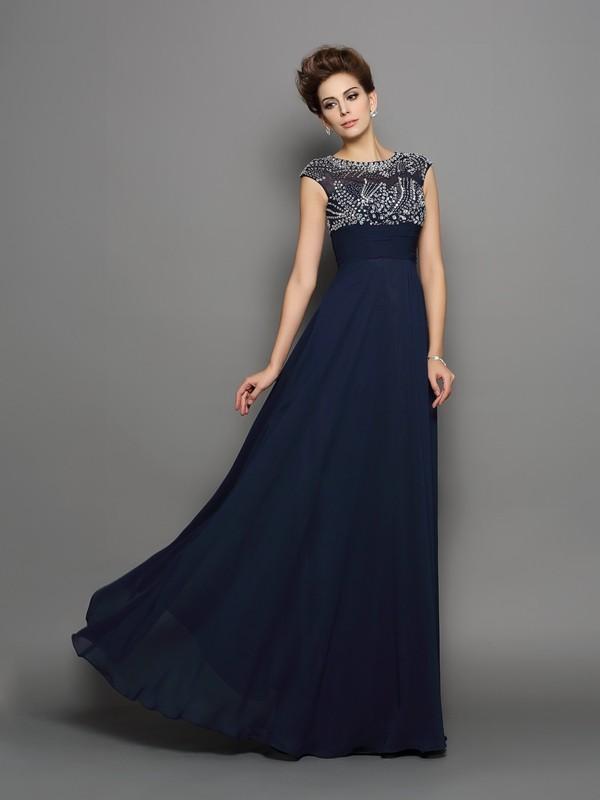 A-Linie/Princess-Linie U-Ausschnitt Perlen verziert Kurze Ärmel Lange Chiffon Kleider