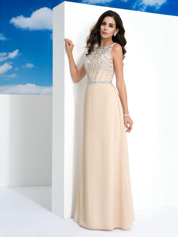 A-Linie/Princess-Linie U-Ausschnitt Perlen verziert Ärmellos Lange Chiffon Kleider