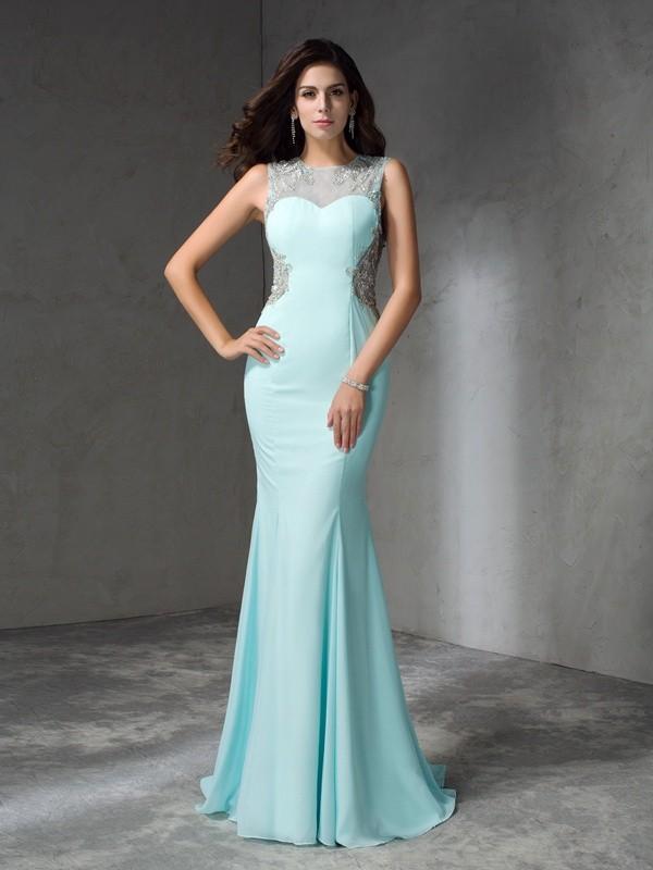 Trompete/Meerjungfrau-Linie Juwel-Ausschnitt Perlen verziert Ärmellos Lange Chiffon Kleider