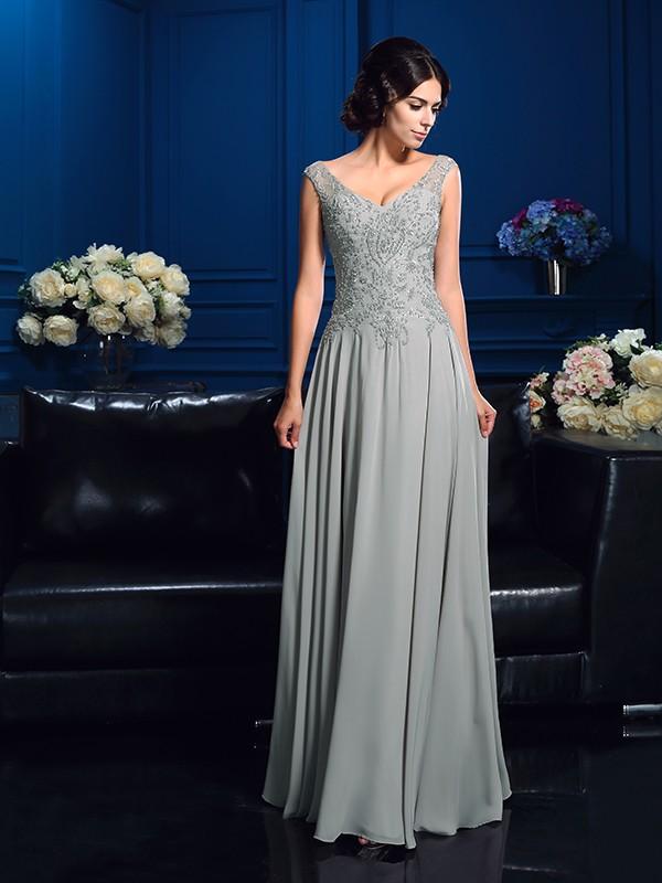 A-Linie/Princess-Linie V-Ausschnitt Perlen verziert Ärmellos Lange Chiffon Brautmutterkleider